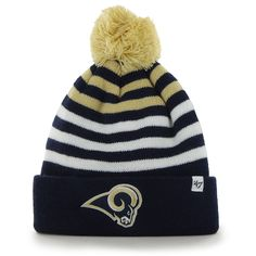 Los Angeles Rams Youth Yipes Cuffed With Pom Knit Beanie - Navy. NFL Caps    Hats 7d40bb66e