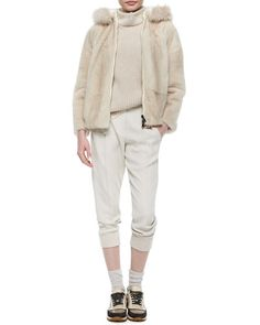 -5X89 Brunello Cucinelli Reversible Mink Jacket with Fox Fur-Trimmed Hood, Cashmere Ribbed Chiffon-Trimmed Tunic & Woven Wool Jogger Pants