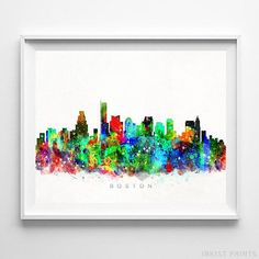 Boston, Massachusetts Watercolor Skyline Wall Art Poster - Prices from $9.95 - Click Photo for Details - #skyline #watercolor #cityscape #bedroomdecor #Boston #Massachusetts