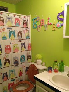 Kids Bathroom Finished Owls From Walmart