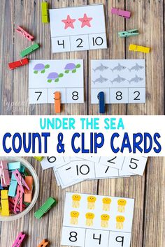 These ocean themed Count and Clip cards are a fun, hands-on activity to help kids to develop and build their counting and fine motor skills plus work on their understanding of one to one correspondence. Numeracy Activities, Pre K Activities, Teaching Activities, Preschool Learning, Hands On Activities, Classroom Activities, Fun Learning, Nursery Activities, Kindergarten Art Projects