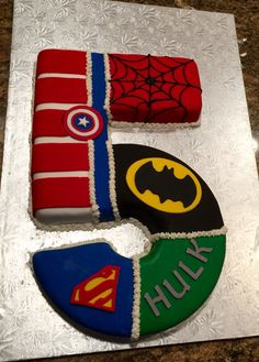 Newest Super Hero cake I made for our grandsons 5 th birthday