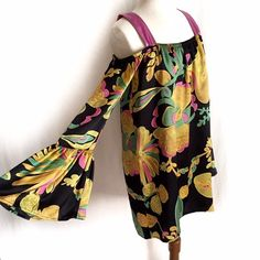 """Voom by Joy Han 'Lina' Dress✨Host Pick✨ Gorgeous off the shoulder silk dress with long bell shape sleeves and contrasting straps. Pink, yellow, and green floral design on a black background. Black lining. 100% silk; Lining is 100% polyester. Dry clean. Size Small. Bust: 17"""" flat across. Waist: 21"""" flat across. Length: 33"""". Like New Condition. Thanks for looking! Voom by Joy Han Dresses"""