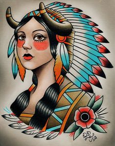 Native Indian Girl Traditional Tattoo Print.