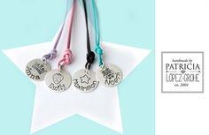 Namensarmbänder - & Ketten - 925/- Taufkette Silber Taufschmuck Kette Leder ... - ein Designerstück von Grohe-Schmuck bei DaWanda