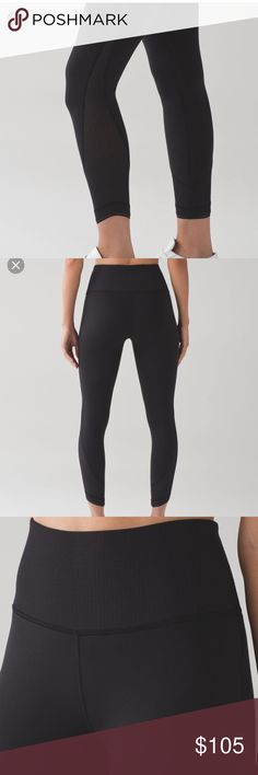Lululemon High Times Deep Breathe Tight Worn only a couple times! In perfect condition. Selling bc they are a bit small for me. I believe they are full on luon. Super nice fabric and beautiful mesh with a nice detail at the bottom. Please offer using offer button 🤗 lululemon athletica Pants Leggings