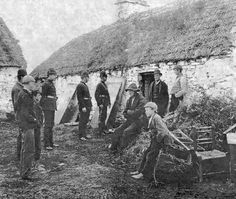 Farmers about to be evicted during the Irish famine of the 1840s