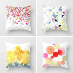Fabric Ideas 22 Wonderful Ways to Rock Watercolor via Brit Co. - the leaves pillowcase in the top left would be perfect as my new bedspread! they suggest watering down fabric paint; seems more effective than sharpies Diy Pillows, Decorative Pillows, Throw Pillows, Diy Postcard, Sewing Projects, Diy Projects, Fabric Painting, Watercolor On Fabric, Painting Patterns