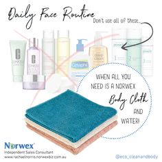 Daily face routine. Never use or spend money on cleansers, toners, face wash, exfoliation gels and all the rest ever again. All you need is a Norwex body cloth and water