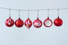 Lot de 6 la main peint rouge Noël ornements en par Pigeonatelier