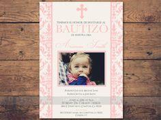 invitacion rosa bautizo en español con foto, bautizo chica, Pink baptism invitation in spanish, cristianismo, printable, template by LaminitasPrintables on Etsy