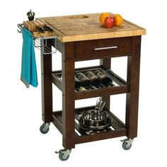 lots packed into a small space. Kitchen Storage. Kitchen Cart, Butcher block cart