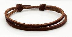 Brown Leather Cord Bracelet Adjustable Sliding Knot Surfer