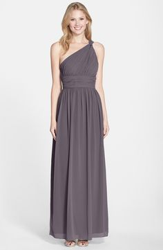 Donna Morgan 'Rachel' Ruched One-Shoulder Chiffon Gown (charcoal)