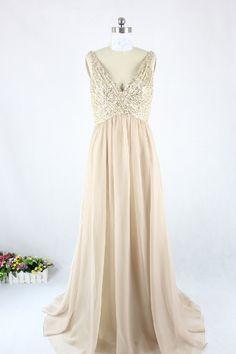 Bridesmaid Deep V-neck Chiffon Sequin Bodice Real Sample Prom Dress/ Long Evening Dress 2250