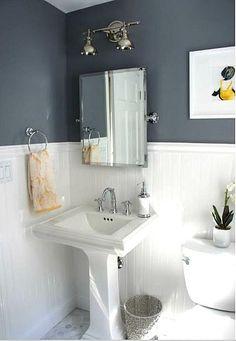 Bathroom renovation. Rock Grey. Benjamin Moore.
