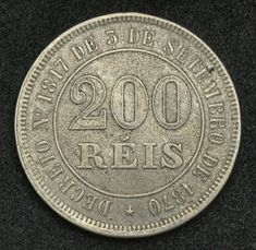 World coins - Brazil 200 Reis Coin, Emperor Pedro II of Brazil or Dom Pedro de Alcântara, mint date Us Coins, Rare Coins, Old Coins Value, French Coins, Foreign Coins, Coins Worth Money, Coin Shop, Coin Worth, Gold And Silver Coins