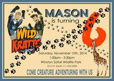 Wild Kratts Birthday Party Invitation by Thewoodencupcake on Etsy