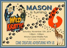 Wild Kratts Birthday Party Invitation by Thewoodencupcake on Etsy