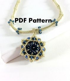 PDF-file Beading Pattern Midnight Harmony Necklace by HoneyBeads1Official with the new crescent beads!