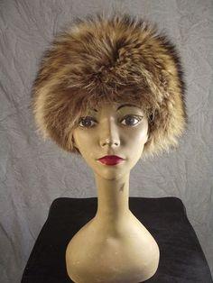 "Vintage 70s Disco Era Chic Raccoon Toque Bubble Hat 21"" | eBay"