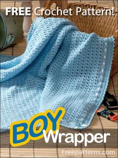 Free Boy Wrapper Crochet Pattern -- Download this free crochet baby blanket pattern from FreePatterns.com!