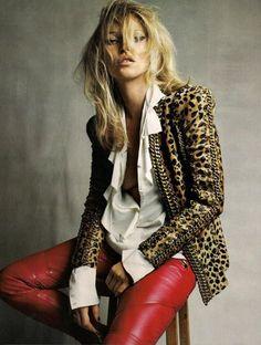 Leopard print blouse & Leather pants