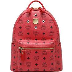 MCM Backpack Worldwide Cognac Visetos Red Small