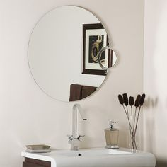 Modern Large Round Frameless Mirror with Magnification