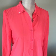 Forever 21 top Salmon sheer button up top. Collar with stones on it. No flaws Forever 21 Tops Blouses