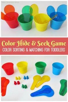 Easy color recognition game for toddlers! This DIY color learning activity is a hands-on way for young children to learn about colors! Color sorting and learning for kids! Creative Activities For Kids, Preschool Learning Activities, Play Based Learning, Color Activities, Learning Through Play, Infant Activities, Preschool Ideas, Color Games For Toddlers, Learning Colors