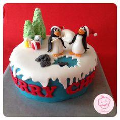 Kerst taart met pinguïns - Lataart