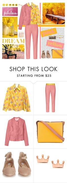 """""""Fall Trend: Pink and Yellow"""" by musicfriend1 ❤ liked on Polyvore featuring Chanel, Oris, Racil, Rebecca Taylor, Furla, MaxMara, Mminimal and LeiVanKash"""
