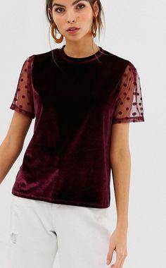 9bb88f3cf8e DESIGN velvet t-shirt with dobby mesh sleeve. Sorority Recruitment  OutfitsVelvet T ShirtBusiness Casual ...