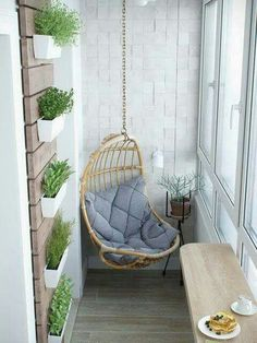 small balcony swing More Balcony Decor planters Small Apartment Decorating, Interior, Dream Decor, Home, Cozy House, Cheap Home Decor, House Interior, Cozy Apartment, Apartment Balcony Decorating