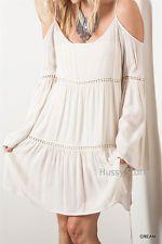 Umgee USA Boho Dress Cream Cold Shoulder Hippie Chic Gypsy Peasant Tunic S,M,L