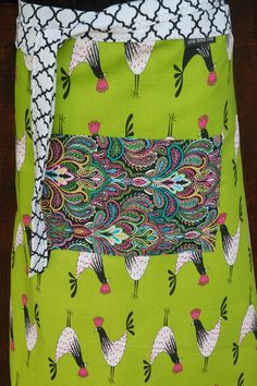 Rooster  Half Apron lime green hot pink paisley by unabellavita@etsy.com