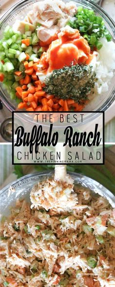 Buffalo Ranch Chicken Salad Recipe - This easy recipe is so delicious! It is packed with flavors and you can make it as spicy as you want. As a bonus, it is Paleo, Compliant, gluten free, dair (Ranch Chicken) Pollo Buffalo, Buffalo Ranch Chicken, Ranch Chicken Salad Recipe, Chicken Recipes, Ranch Recipe, Recipe Chicken, Clean Eating, Healthy Eating, Healthy Food