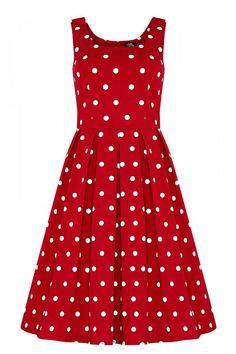 """Puntíky jsou věčné! Krásné červené šaty s bílými puntíky jsou dokonalou volbou na svatby, retro plesy, zahradní slavnosti nebo na oběd s přáteli. Velmi příjemný materiál (97% bavlna, 3% elastan), bez rukávů, boční kapsy, zapínání na zip na zadní straně. Doporučujeme doplnit spodničkou z naší nabídky v délce 25""""-27"""". Amanda, Retro, Dresses, Fashion, Vestidos, Moda, Fashion Styles, Dress, Retro Illustration"""