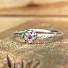 Pink Sapphire Flower Stackable Ring In Sterling Silver Silver Ear Cuff, Silver Rings, Rustic Flowers, Stackable Rings, Pink Sapphire, Heart Ring, Jewelry Design, Engagement Rings, Gemstones