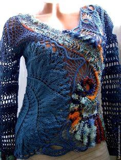 Купить или заказать пуловер,,Джинсовая фантазия- 2,, в интернет-магазине на Ярмарке Мастеров. Перетекание узоров,оттенков,фактур и разных техник вязания делает эту вещь запоминающейся и неповторимой. Возможно выполнение в другом цве…