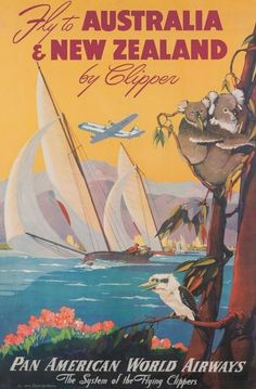 Vintage Travel Poster-Australia, New Zealand