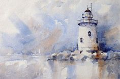 Doodlewash and watercolor painting by Edo Hannema of lighthouse with sailships