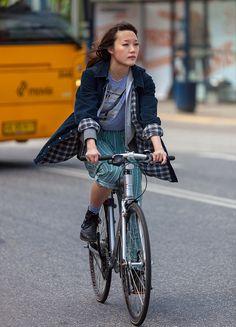 Copenhagen street style fashion on bikes