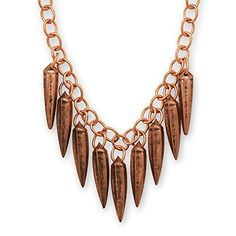 Copper Chain Link Necklace with Spiked Drops Adjustable Length *** Visit the image link more details.
