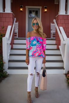 Lilly Pulitzer Sain Off The Shoulder TopYou can find Lilly pulitzer and more on our website.Lilly Pulitzer Sain Off The Shoulder Top Southern Outfits, Preppy Outfits, Mom Outfits, Preppy Style, Spring Outfits, Cute Outfits, My Style, Southern Shirt, Southern Fashion