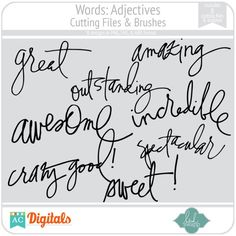Words: Adjectives Cutting Files & Brushes from Heidi Swapp