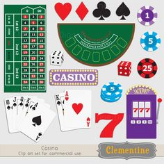Poker clip art images, casino clip art, royalty free images, commercial use- BUY 2 GET 1 FREE. $5.00, via Etsy.