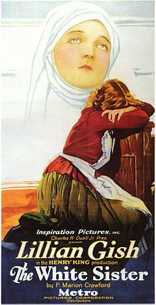 Theatrical poster for the 1923 silent film  The White Sister starring Lillian Gish.