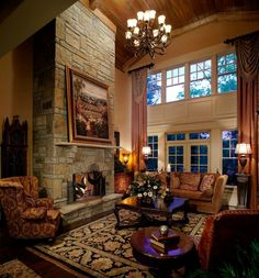 Fireplace & mantel stone idea